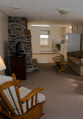 Living room area in house with tan carpet and stone fireplace.